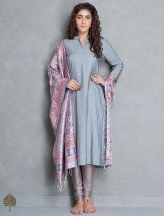 Buy Grey Natural Dye Tussar Munga Kurta by Jaypore Silk Apparel Tunics &… Salwar Designs, Kurti Designs Party Wear, Indian Attire, Indian Wear, Indian Dresses, Indian Outfits, Indian Designer Suits, Vogue, Modest Dresses
