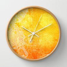 Full+Moon+Rising+Wall+Clock+by+Vikki+Salmela+-+$30.00 #new #sun #sunburst #modern #contemporary #orange #yellow #fun #bright #accessory #clock for #home #apartment #kitchen #office #decor #art by #vikkisalmela #polkadotstudio