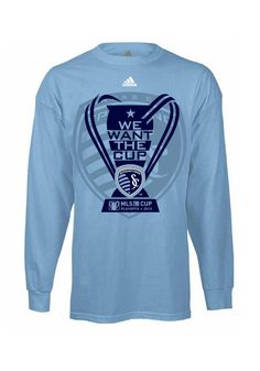 "Sporting Kansas City Adidas T-Shirt- 2012 MLS Cup Men's Smoke Blue ""We Want the Cup"" Long Sleeve"