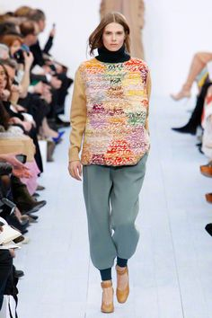 Chloé Fall 2012, Trend Report - Knit Pick. Rich colour, nubby texture and fabric mixing lend a cool touch to crafty head-to-toe knit dressing.
