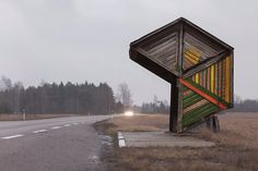 These are not your standard photo subject and Soviet-era bus stops can be bloody hard to find. They may be visible from the road, but these bus stops sit on some very remote roads! Bus Stop Design, Bus Shelters, Shelter Design, Der Bus, Grand Format, Bus Station, Urban Furniture, Out Of This World, Public Art