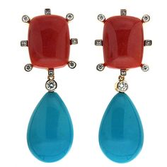 Cushion Coral and Tear drop Turquoise Earrings   From a unique collection of vintage clip-on earrings at https://www.1stdibs.com/jewelry/earrings/clip-on-earrings/
