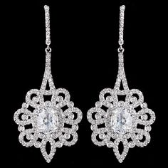 Glamorous CZ Drop Wedding and Formal Earrings - Affordable Elegance Bridal -