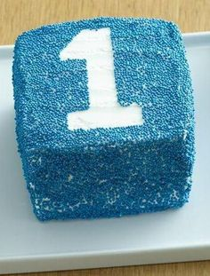 Block smash cake for first birthday.  #sprinkles #cube #block #cake #birthday #kids #children #baby #dessert #recipe