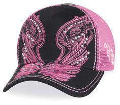Pink Harley Baseball Hats | Harley-Davidson® Womens Studded Wings Pink Trucker Cap