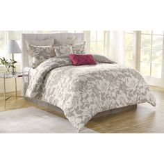 The Soho New York 100-percent cotton floral comforter set will bring style and elegance to any bedroom. The set includes a comforter, bedskirt, two standard shams, two Euro shams and two decorative pillows.