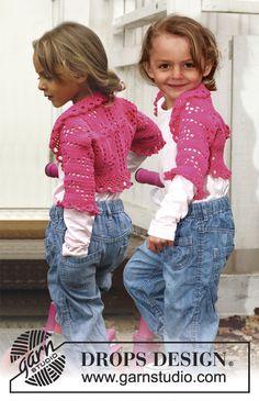 "Crochet DROPS bolero with lace pattern in ""Safran"". Size 3 - 12 years. ~ DROPS Design"