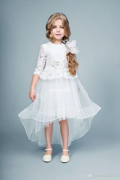Cute Wedding Lace Flower Girl Dresses High Low Half Sleeve Ball Gown Tulle Crew Sash 2016 Children Formal Birthday Gowns Girls Pageant Dress Online with $58.06/Piece on Sweet-life's Store | DHgate.com