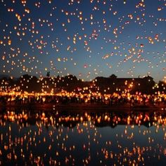 The summer solstice occurs as the sun moves from Gemini into Cancer. Summer solstice festival in Ponzan, Italy. Floating Lanterns, Sky Lanterns, Paper Lanterns, Floating Lights, Tangled Lanterns, White Lanterns, Wedding Lanterns, Oh The Places You'll Go, Places To Visit