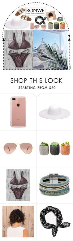 """Triangle Bikini/ ROMWE"" by youngsmile ❤ liked on Polyvore featuring Belkin, Peter Grimm, Ray-Ban, Shop Succulents, Design Lab, rag & bone and Billabong"