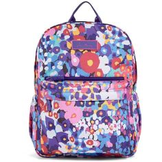 Vera Bradley Lighten Up Just Right Backpack in Impressionista ($78) ❤ liked on Polyvore featuring bags, backpacks, impressionista, lightweight daypack, knapsack bags, water resistant backpack, padded bag and water resistant bag