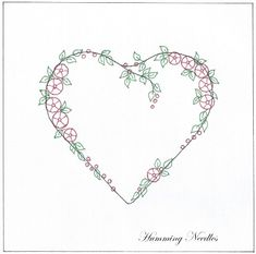 Free pattern: Manya of Humming Needles shares her design for a silk-ribbon heart