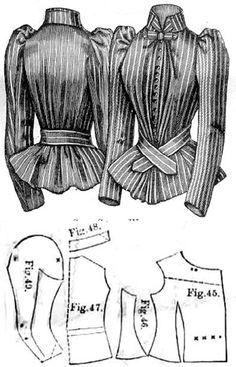 Silk waist, Harper's Bazaar- 1891 Costume Patterns, Dress Sewing Patterns, Vintage Sewing Patterns, Clothing Patterns, Skirt Patterns, Coat Patterns, Blouse Patterns, Edwardian Costumes, Victorian Costume