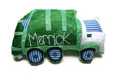Garbage Truck Pillow, Trash Truck, Personalized, Custom Truck Plush Pillow, Toddler Plush