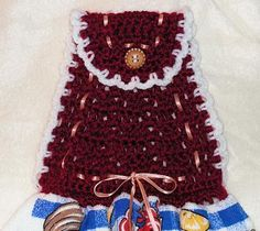 Dish Towel - Crochet Towel Topper with Ribbon Woven Through the Design