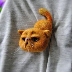 """Броши ручной работы. Заказать Валяная брошь """"Рыжий кот"""". Malupasy. Ярмарка…"""