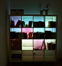 IKEA hackers: light up your Expedit. clearly, this should be done for a bar.