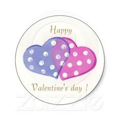 Double #heart, Happy Valentine's day ! round #stickers designed by ArianeC  from iCraftCafé . #valentinesday #valentinesdaystickers #polkadots
