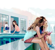 "American GirlsTIME MagazineFor this article about teenage girls and social media, I was given the opportunity to illustrate something very familiar. Part of the article tells about a group of teenagers hanging out at the Boca Raton mall in South Florida, near where I grew up. I know the aesthetic of the sun-bleached teenagers in this area all too well, and I enjoyed painting them as though from memory. The article itself painted teenage girls as too connected to their online ""brand"", no…"