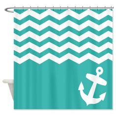 Teal Nautical chevron anchor Shower Curtain