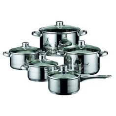 ELO Skyline Stainless Steel Kitchen Induction Cookware Pots and Pans Set with Air Ventilated Lids, 10-Piece - Walmart.com