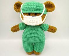 Crochet Frontline Hero Bear Pattern by Aixan Legasto of Yarn It, Darn It Crochet Mask, Crochet Faces, Crochet Teddy, Crochet Dolls, Free Crochet, Free Knitting, Crochet Bear Patterns, Amigurumi Patterns, Doily Patterns