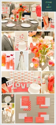 #wedding #decor #color #ideas #pink #peach and #gray #grey from The Bride's Guide : Martha Stewart Weddings