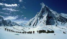 Stand on a glacier (Karakoram Range, Pakistan)