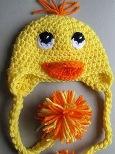 Crocheted yellow duck hat