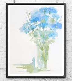 Light Wall Art, Blue Bouquet of Flowers in a Vase, Cornflower Still Life Watercolor Print, Pastel Painting, Floral Art Decor For Bedroom Watercolor Water, Watercolor Print, Watercolor Flowers, Watercolor Paintings, Watercolours, Art Floral, Pastel Floral, Abstract Flowers, Abstract Art