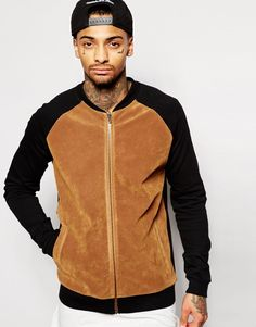 ASOS Jersey Bomber Jacket With Faux Suede In Camel