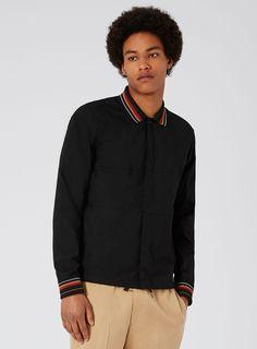 TOPMAN PREMIUM Black Ribbed Collar Overshirt