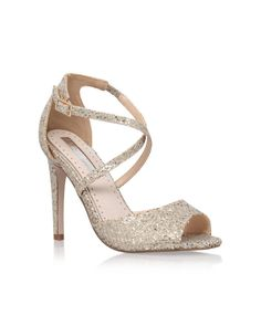 e7c6e4185 MISS KG  Ellis  Gold Mirror-Finish Crossover Strap Open-toe Heel Gold
