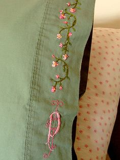 Vintage embroidered pillow cases, pink and green Ribbon Embroidery, Cross Stitch Embroidery, Embroidery Designs, Embroidered Pillowcases, Brazilian Embroidery, Getting Cozy, Embroidery Techniques, Couture, Sewing Projects