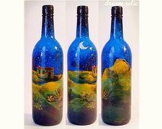 Painted wine bottle - original painting landscape - desert night nature scenery…