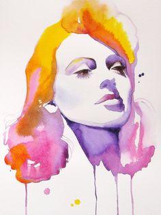 "A0 Hollywood Regency Lana Turner Huge Canvas ART PRINT of Original Watercolor Painting Portrait Old Glamour Movie Star 33  x 47"" inches"