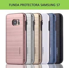 Fundas para móviles y Smartphone Samsung Galaxy S7. Carcasa protectora TPU diseño metal cepillado muy bonita y original.