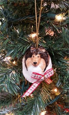Sable Sheltie Christmas ornament - Decorated with a bow   This beautiful hand painted, hand finished from my original mold creation.   Sable Sheltie ornamentmeasures2.5 h x 2.5 x 2.5 w