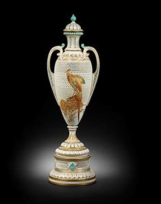 An exceptional Royal Worcester vase and cover by George Owen and Edward Salter, dated 1899