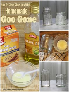 How to remove sticky labels from glass jars with this easy homemade Goo Gone recipe Deep Cleaning Tips, House Cleaning Tips, Cleaning Hacks, Cleaning Products, Green Cleaning, All You Need Is, Homemade Goo Gone, Remove Sticky Labels, Remove Sticky Residue