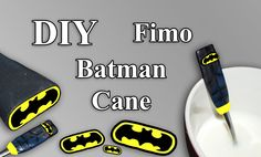 FIMO Batman Cane: Polymer Spoon - Tutorial [HD/DE] (EN-Sub)