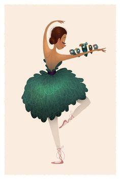 Birdie Ballerina Mini Print por britsketch en Etsy