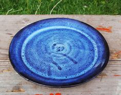 7 Inch Clay Plate in Black and Twilight Blue glaze. For sale at www.etsy.com/shop/bethpiggott for $8.50