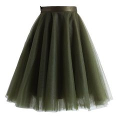 Amore Mesh Tulle Skirt in Olive ❤ liked on Polyvore featuring skirts