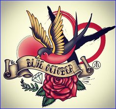 Blue October rose flower red breasted bird gold wings, tattoo red heart, Let me present the amazing work of . Merch line for all of our ladies out there. This man is simply brilliant. Thank you for allowing our ladies to feel apart of the magic. Lyric Tattoos, Rose Tattoos, Body Art Tattoos, Tatoos, Tattoo Art, Red Breasted Bird, Blue October Lyrics, Skull Coloring Pages, Traditional Tattoo Design