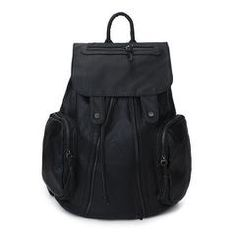 81c40d9329c7 High Quality Leather Casual Unisex Drawstring Backpack 2 Colors - Black  Farby