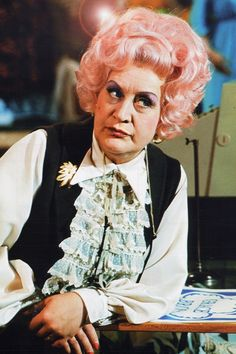 "Pink hair: Mrs Slocombe from ""Are You Being Served"" 1972"