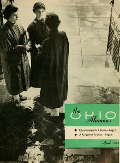 "The Ohio Alumnus, April 1955. ""Reflections on the portico of Scott Quadrangle give evidence of an April shower just passed. Prepared for the weather as they get ready to go to class are (l to r) sophomore coeds Janie Eisby, Cincinnati; Ann Parker, Delaware; and Ann Chaplin, Charlotte, North Caroline. The photograph is by Doug Wetherholt."" :: Ohio University Archives"