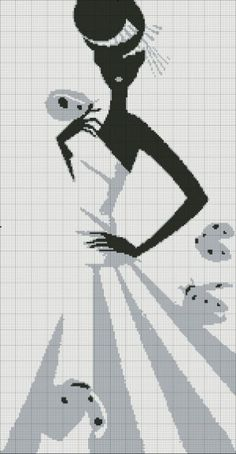 point de croix femme en robe noir et gris - cross-stitch woman in black and grey dress