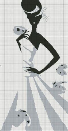 point de croix femme en robe noir et gris - cross-stitch woman in black and grey dress
